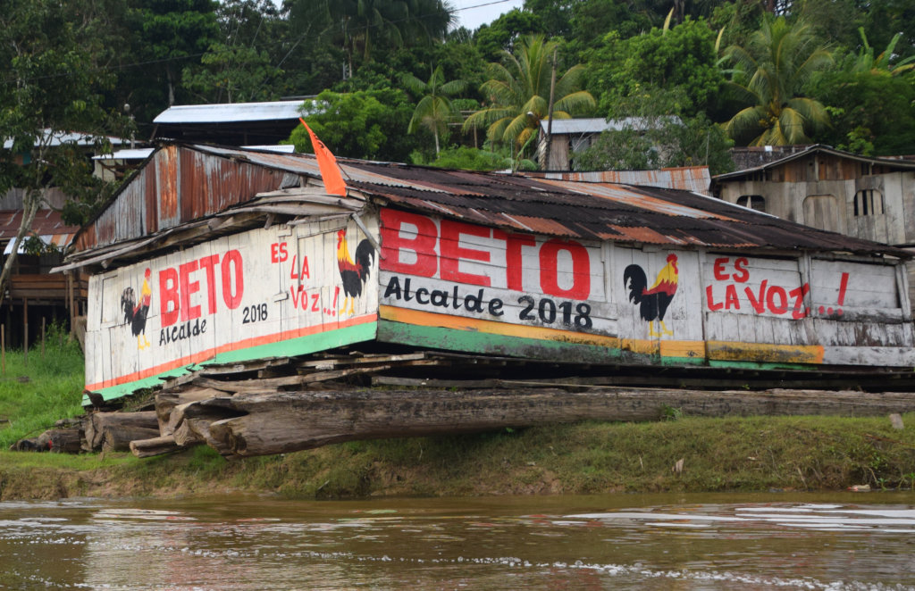 3. Mayor candidate mural on houseboat in Pebas