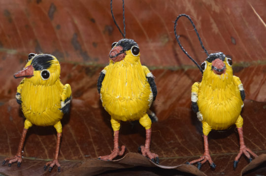 Chambira palm fiber goldfinches made by artisans