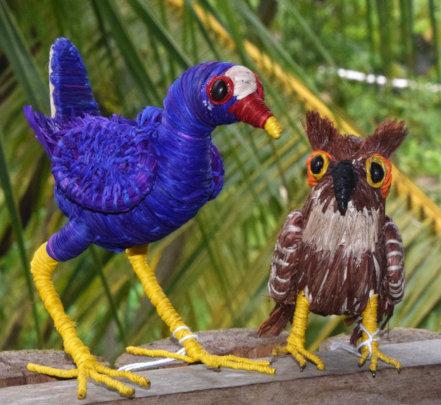 Purple gallinule and tropical screech owl ornament