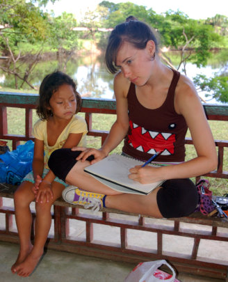Amrit drawing with girl from Chino