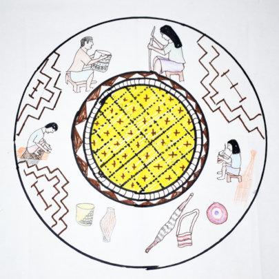 Chambira mandala with yellow center at Brillo Nuev