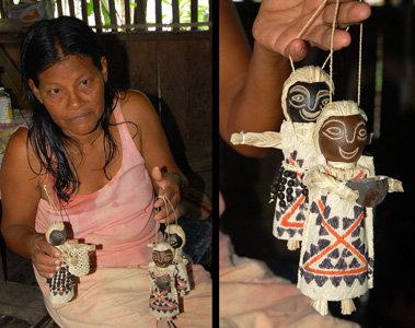 Huitoto artisan Carlina Davila with handmade dolls