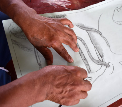 Huitoto artisan drawing tree with vines