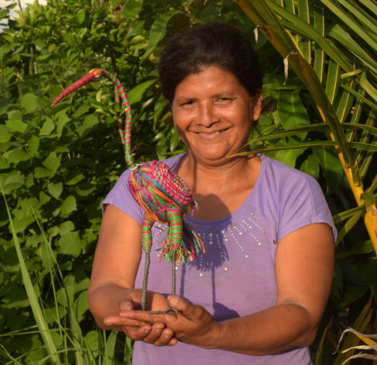 Panchita with large woven egret