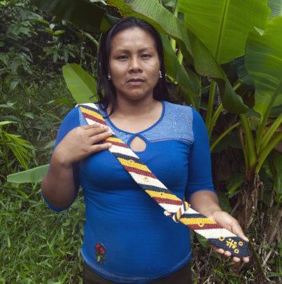 Bora artisan Gisela with woven chambira belt