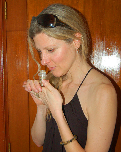 Fragrance maker Haley smelling copal