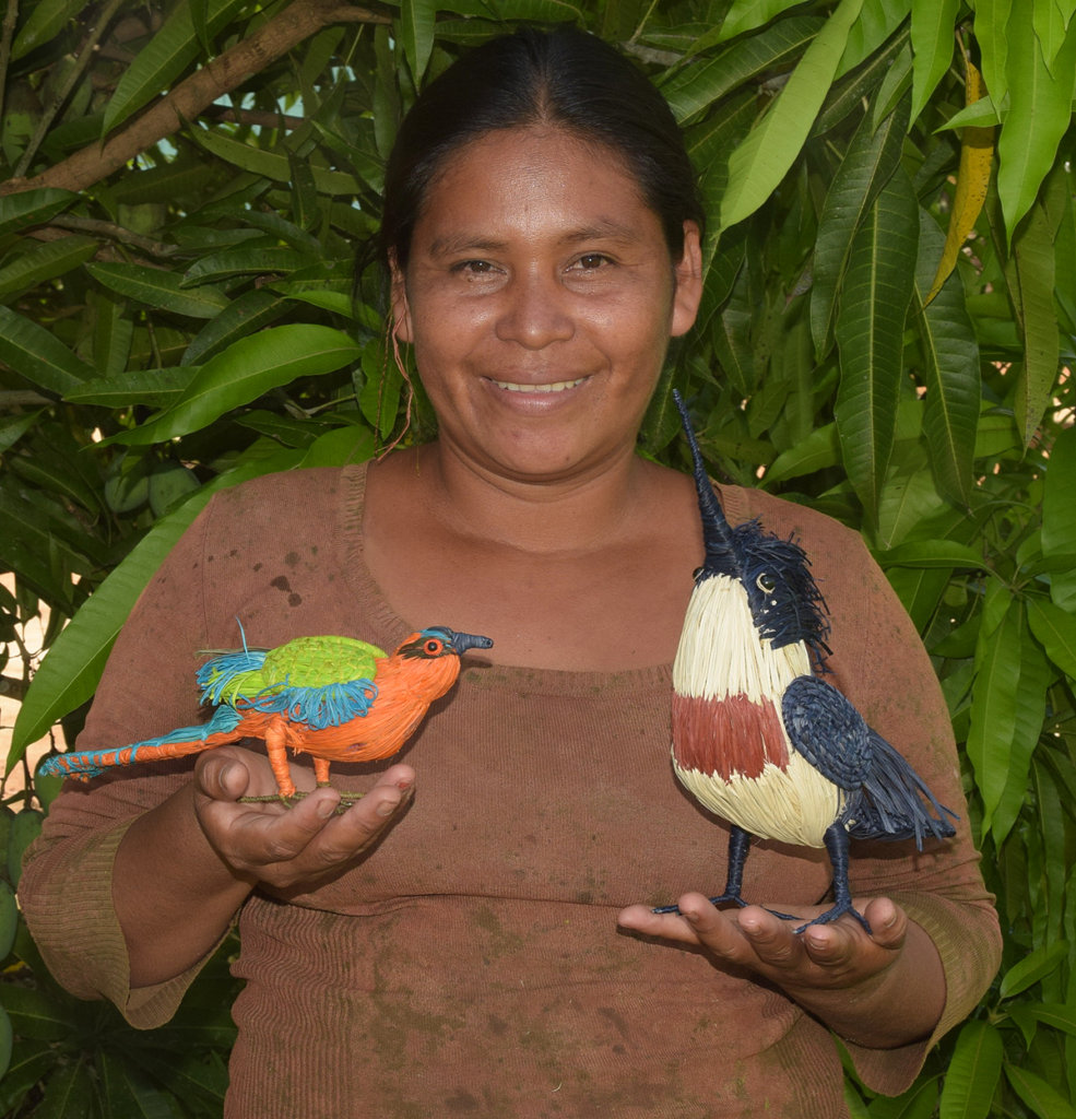 Maranon artisan with woven motmot and kingfisher