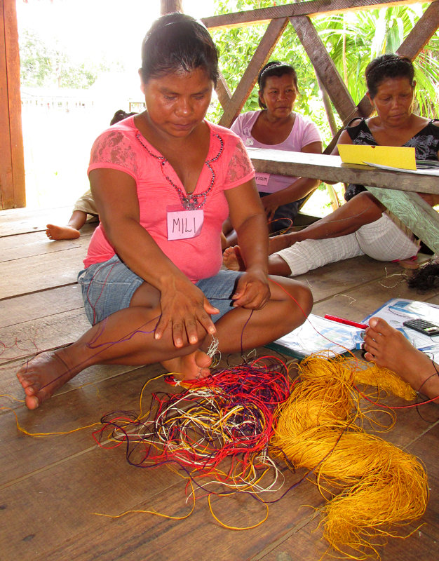 Perfecting skill for twisting chambira palm fiber