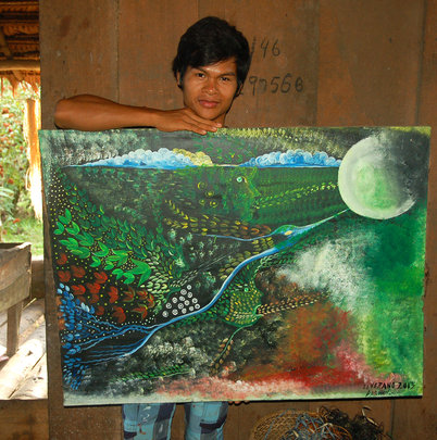 Angelina son Darwin and traditional Bora painting