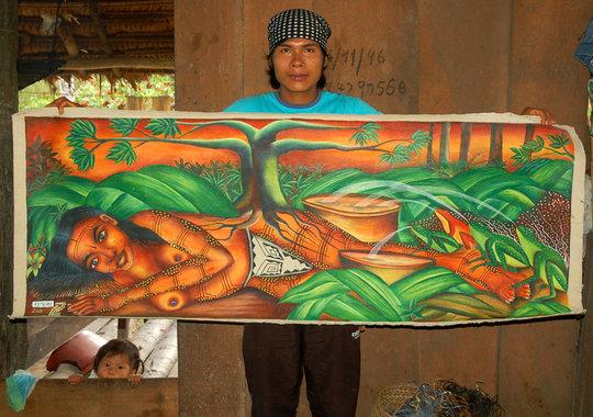 Bora painter Elmer and legendary woman painting