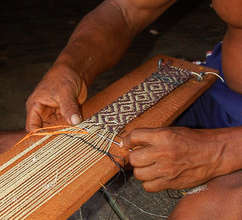 Artisan weaving guitar strap. Plowden/CACE