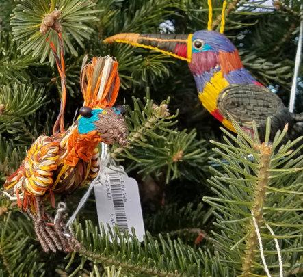 Hoatzin and aracari ornaments at Tait tree farm