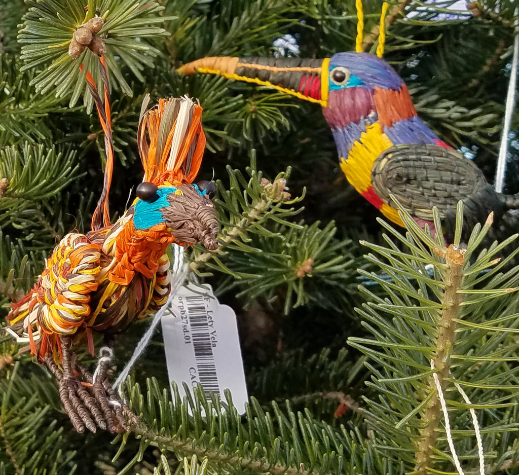 Hoatzin and aracari ornaments at Tait tree farm