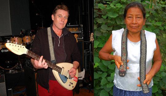 Bora artisan and musician with Amazon guitar strap