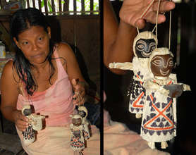 Huitoto woman artisan & hanging Amazon dolls