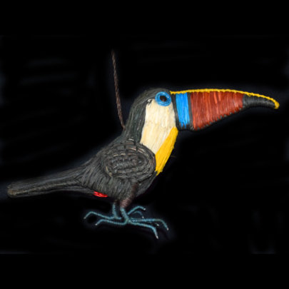 Toucan ornament made with chambira palm fiber