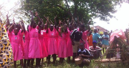 School kids performing in a play