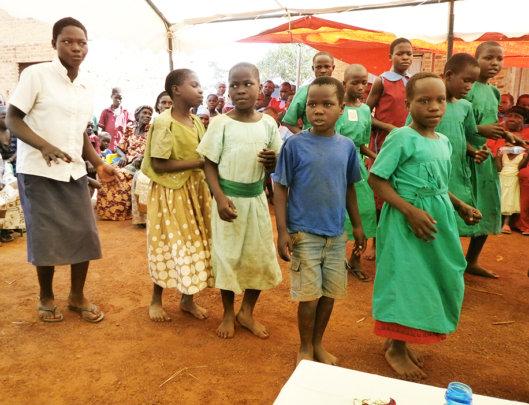 Children in Bugiri performing at school
