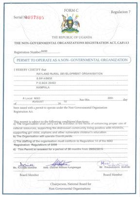 Renewed NGO certificate