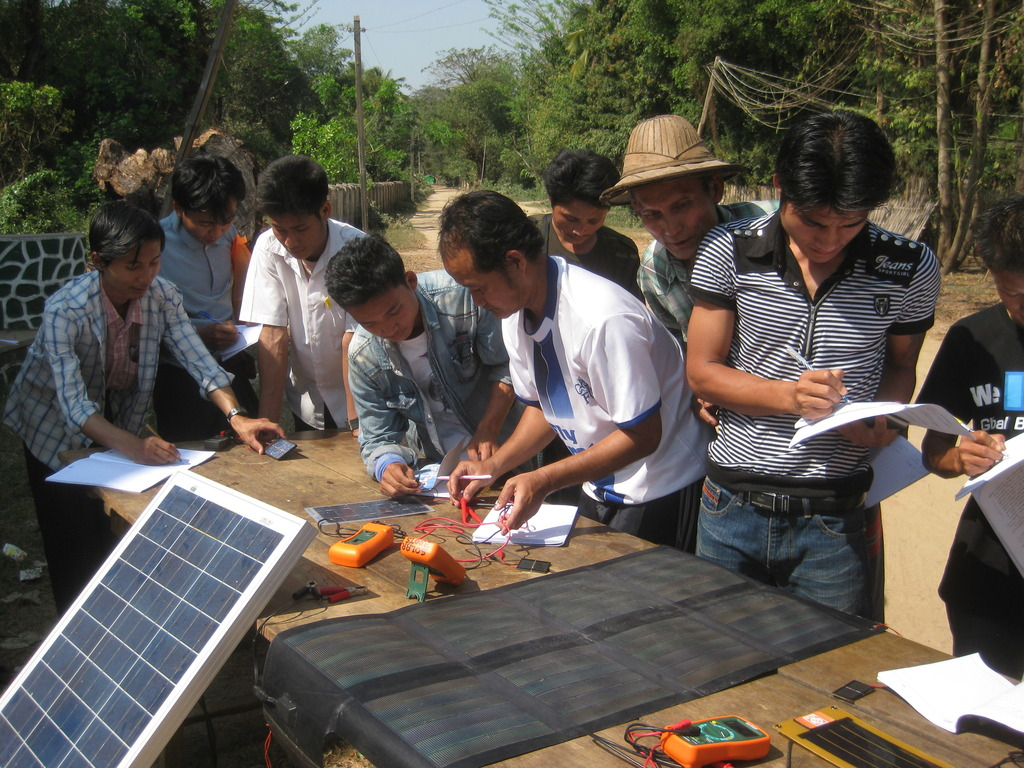 The class tests solar panels