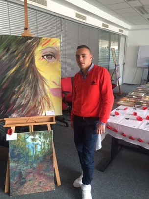 Michal at the winter market exhibition
