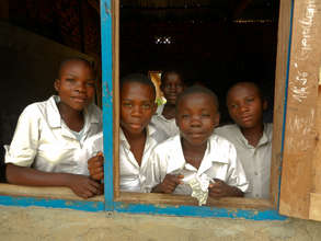 Girls and boys from a school in DRC