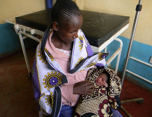 Mother & newborn after delivery in clinic