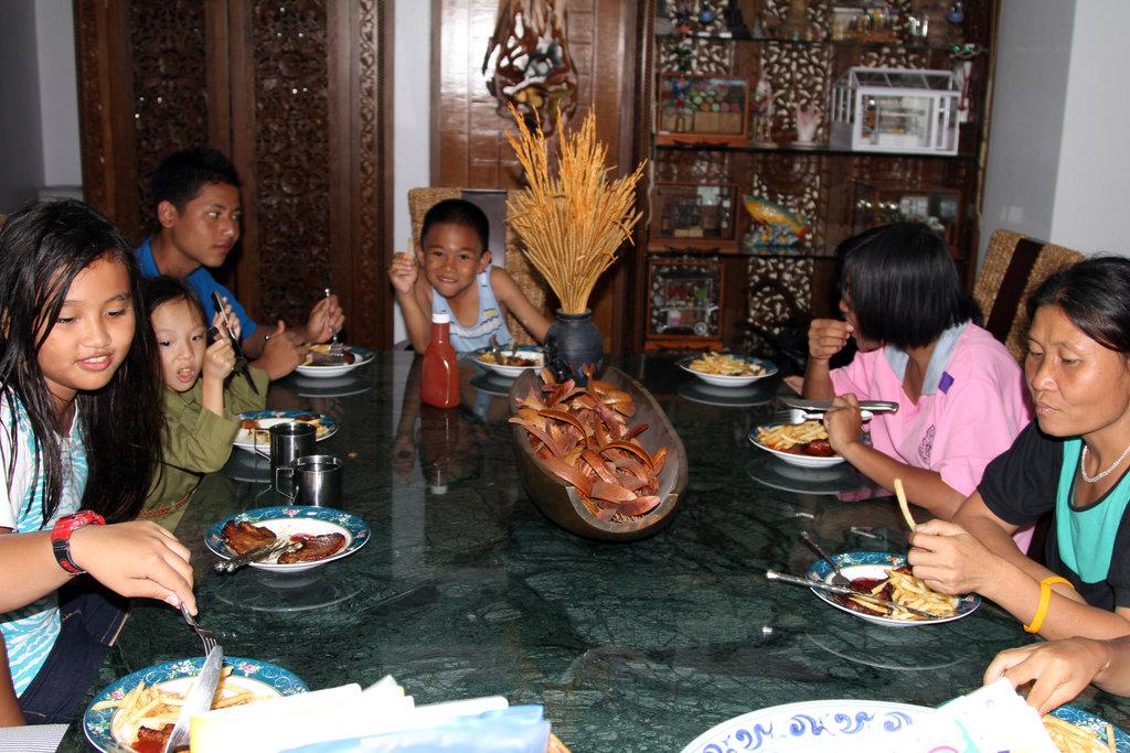 Children from SHO having dinner at my home