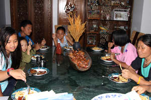 Children from SHO having dinner at my home