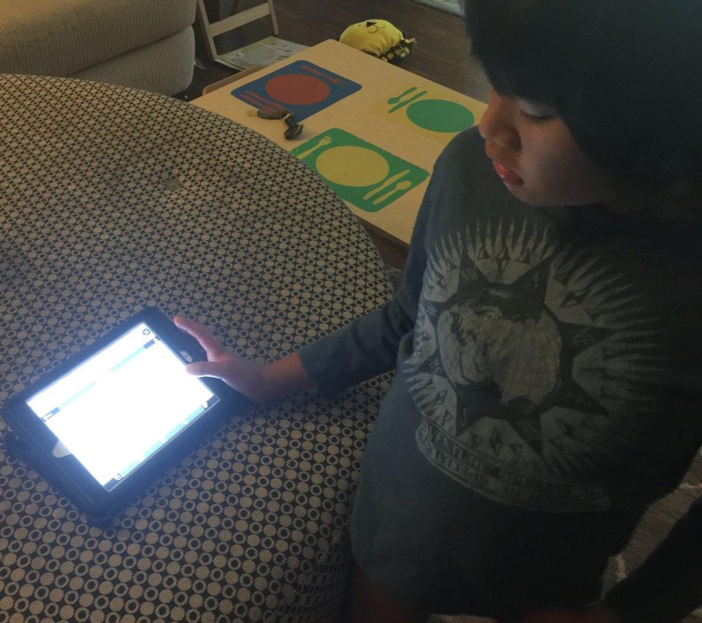 Aiden using his iPad mini at home