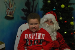 Santa visits with one of our friends