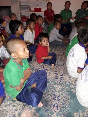 Kids having rest