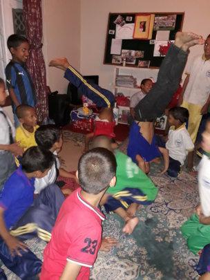 The kids enjoying in leisure