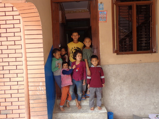 The kids at the orphanage waiting for food support