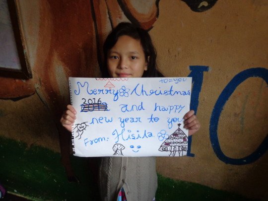 Greetings expressed by a girl at the orphanage