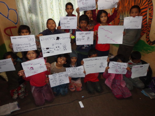 The kids expressing best wishes on women day