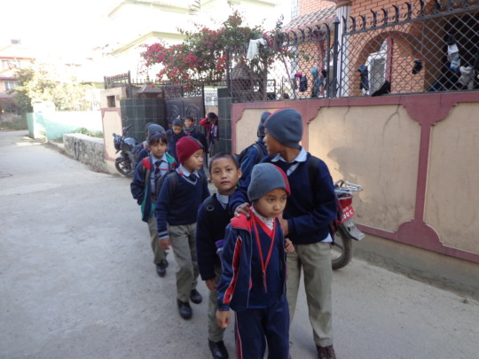 Kids going to school  in a  line