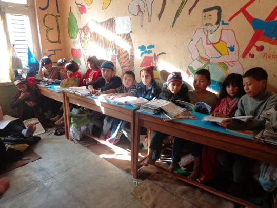 Kids preparing for the   exam