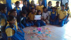 Students learning about National Symbols of India