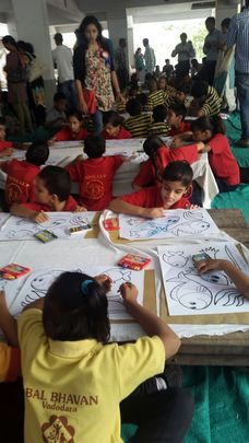 Children participating in Drawing Competition