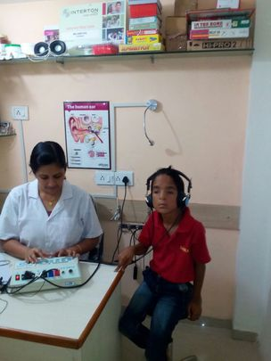 Sudhir getting audiology testing