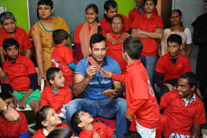 Cricket Celebrity Irfan Pathan with kids