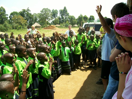 children with our volunteers