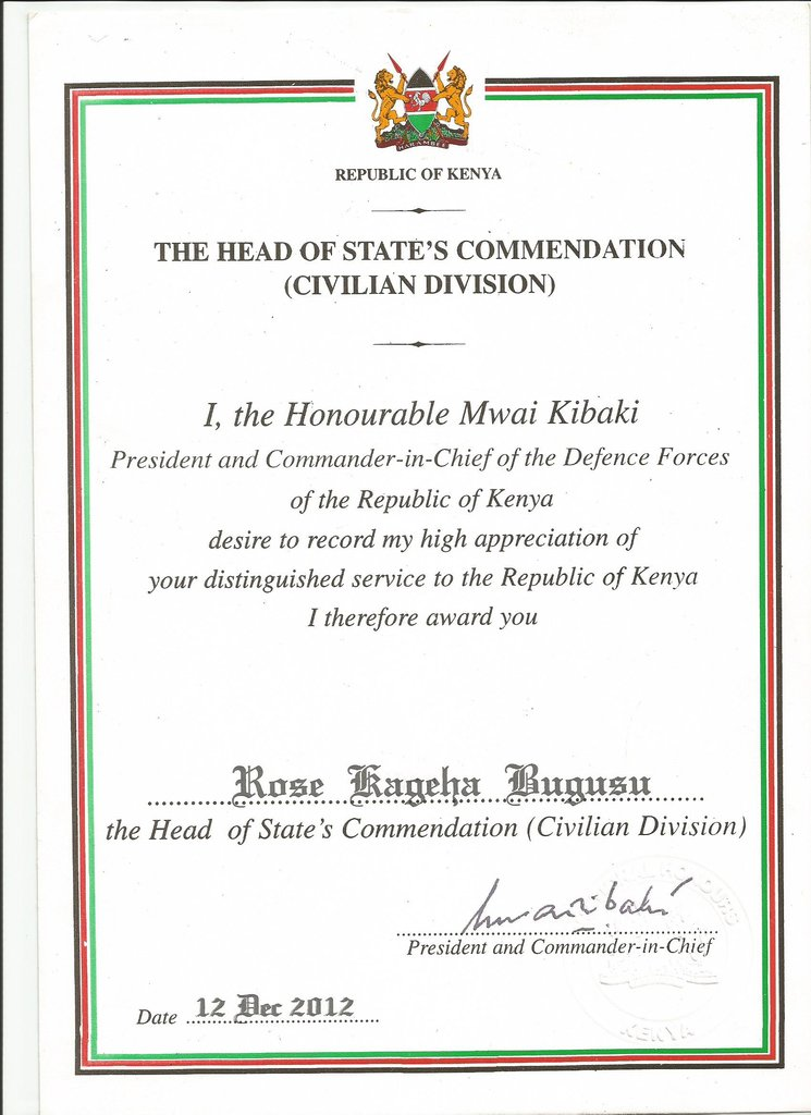 Head of State Commendation Certificate
