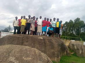students remembering the rock at the centre