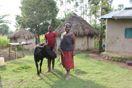 One of the families who recieved the cows