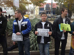 Young men stand against domestic violence