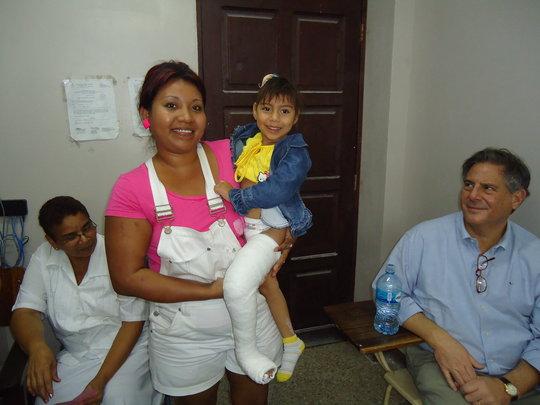 Happy child receiving clubfoot treatment!