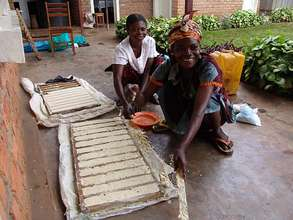 Women working on their brick-making business