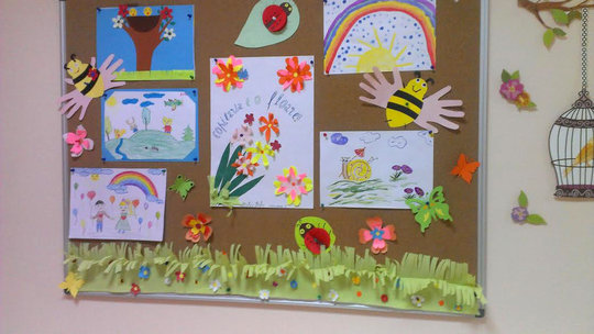 Children's art on display at the Department.